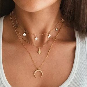 Bohemian Multilayer Necklace Stars and Moon Gold